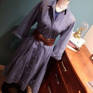 Vintage Denim dress western 90s retro hipster M L